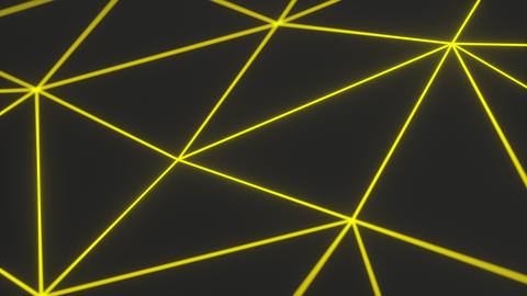 0959 Dark low poly displaced surface with yellow glowing lines Footage