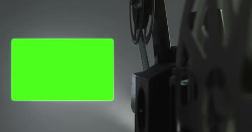 old movie film projector with 16 x 9 aspect ratio chroma key green screen background and flicker Footage