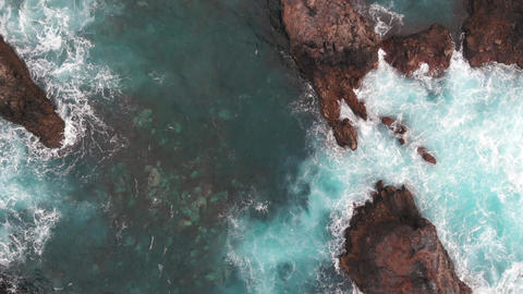 Cinematic shot - drone rises over the coast of the Atlantic Ocean, Tenerife Live Action