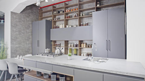 Tracking shot of a luxury kitchen with gray modern design Footage