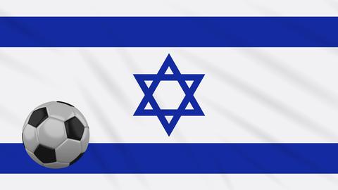 Israel flag waving and football rotates, loop Animation