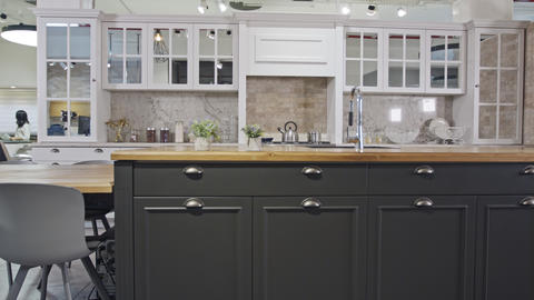 Tracking shot of a luxury kitchen with gray and white classic design Footage