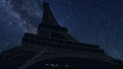 Eiffel tower night time lapse Live Action