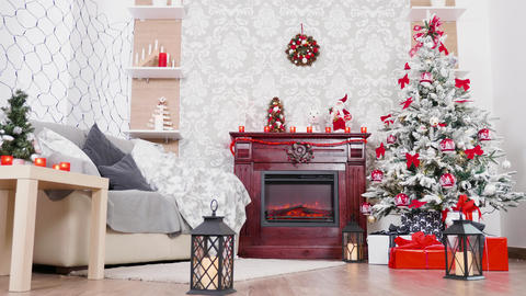 Gorgeous room with Christmas tree and fireplace Footage