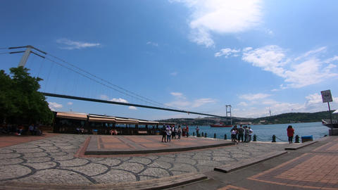 Beautiful view of the suspended bridge and the sea in Istanbul GIF