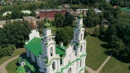 Church St Sophia in Polotsk, Belarus, Europe (Aerial view of Orthodox Landmark) Footage