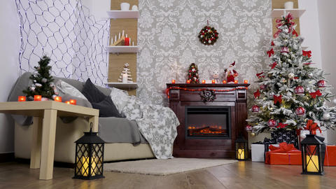 Wide shot of beautiful room with decorated tree Footage