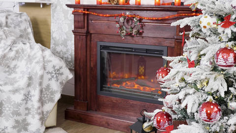 Christmas tree near a beautiful fireplace Footage