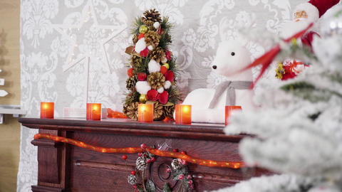 Fireplace with Christmas decorations on it Footage