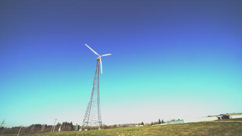 Working windmill turbine, renewable eco-friendly power sources. Energy eco Live Action