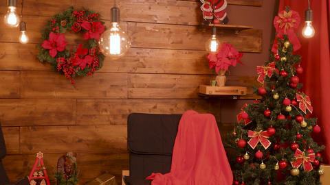Christmas decorations in beautiful room with wooden walls Footage