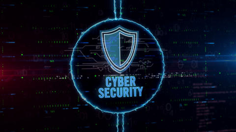Cyber security with shield hologram in electric circle Animation