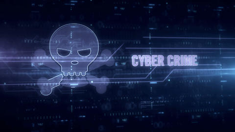 Cyber crime with skull blue hologram Animation