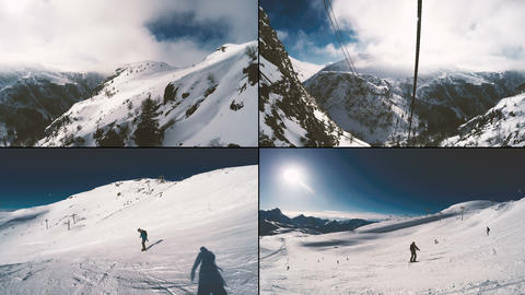 Snowboarding on a sunny day. Split screens Footage