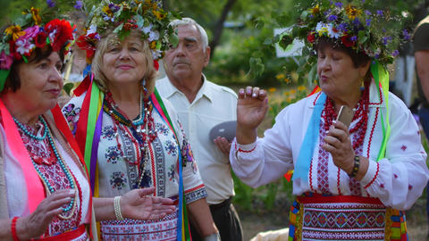 Skovorodinovka, Ukraine July 6, 2019: Ethnic national folk holiday Ivan Kupala Footage
