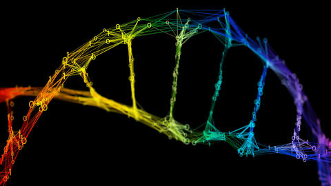 Isolated Iridescent rainbow binary Digital Plexus DNA molecule strand colorful Animation