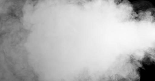 blowing horizontal steam with white smoke isolated on Live Action