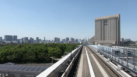 Rail travel image of urban traffic ビデオ