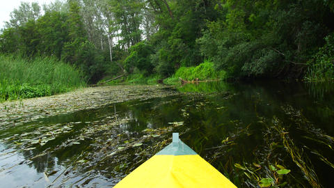 Kayak view from the nose, calm river Footage