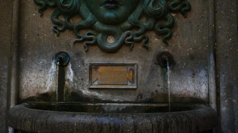 Medusa fountain, Nemi village near Rome famous for its strawberries Footage