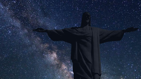 Christ the Redeemer time lapse at night with stars Footage