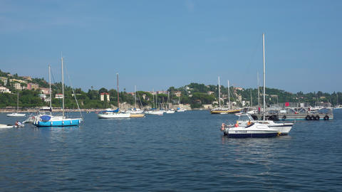 Yachts in Villefranche-Sur-Mer in France - Medium Shot Live Action