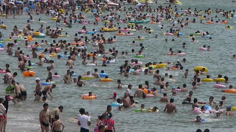 Many people swim in sea.swimming pool timelapse Stock Video Footage