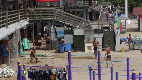 People Playing Beach Volleyball On Beach stock footage
