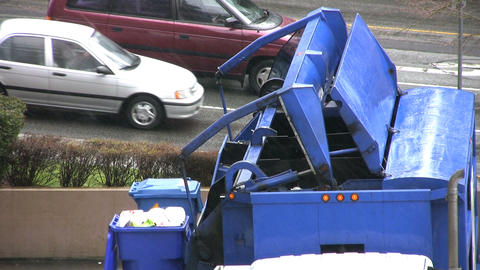 Garbage Recycling Truck Stock Video Footage