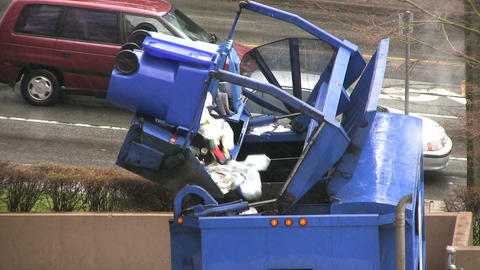 Garbage Recycling Truck Footage