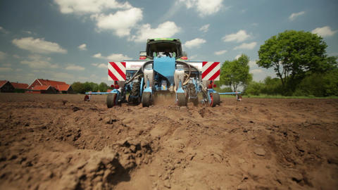 Tractor planting maize Stock Video Footage