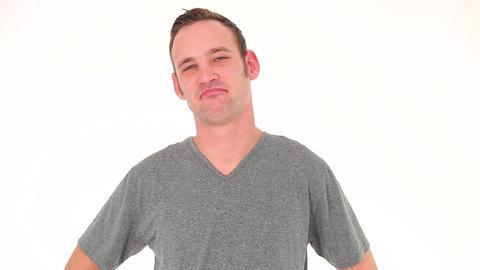 Positive casual man nods Stock Video Footage