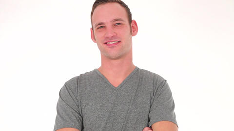Young casual man smiling with showing teeth Footage