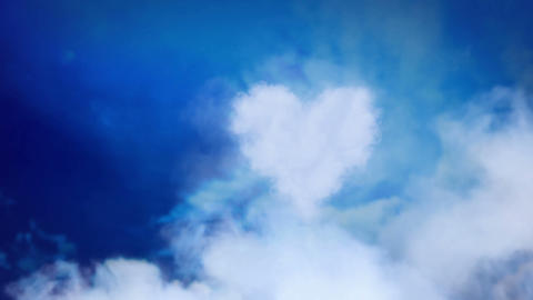 Love is in the air - heart from clouds Stock Video Footage