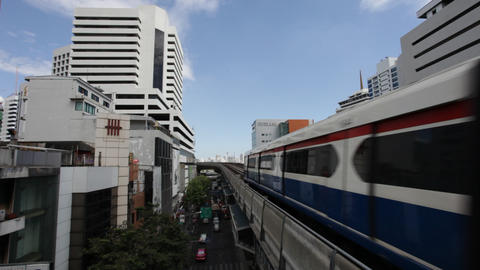 Bangkok BTS - Aerial Metro transportation Stock Video Footage