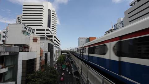 Bangkok BTS - Aerial Metro transportation Stock Video Footage