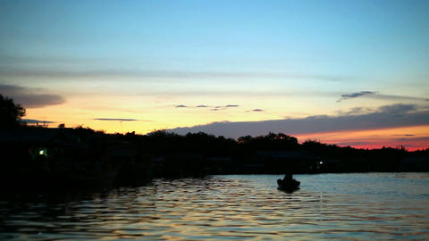 Watching sunset on Tonle Sap lake, Siem Reap, Angkor,... Stock Video Footage