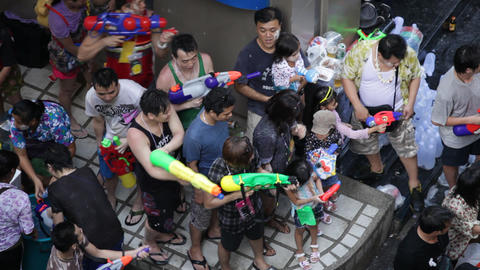 Songkran Water Festival in Bangkok, Thailand Stock Video Footage