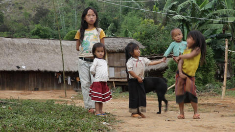 Hmong ethnics kids, Laos Stock Video Footage