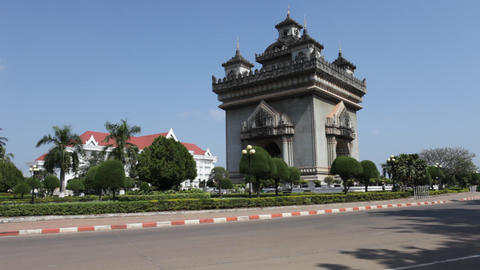Patuxai in Vientiane, Laos Stock Video Footage