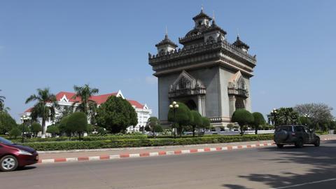 Patuxai in Vientiane, Laos Footage