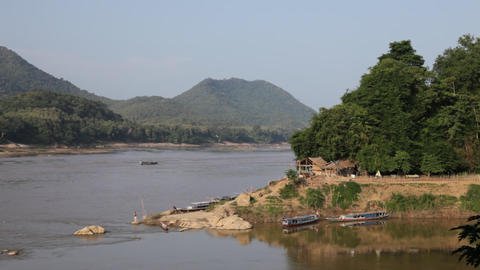 MEKONG RIVER going through Laos Stock Video Footage