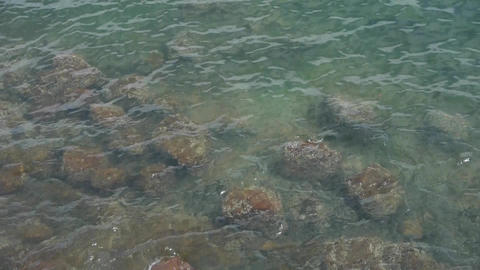 Water ripples surface.transparent underwater reef Stock Video Footage