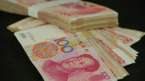 large sums of money RMB.Financial Freedom.Mao Zedong... Stock Video Footage