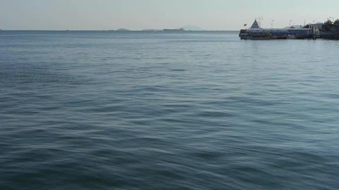 Ocean water surface and rock reef coastal,horizon,skyline Stock Video Footage