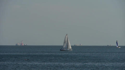 Sailboat sailing in sea ocean.water surface Footage