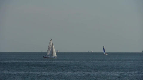 Sailboat sailing in sea ocean.water surface Stock Video Footage