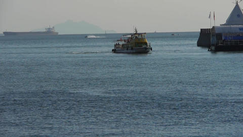 passenger ship sailing in sea,relying on dam.water surface Stock Video Footage