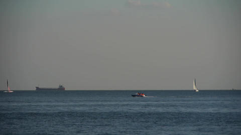 passenger ship,yachts & speedboats transportation... Stock Video Footage