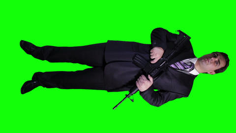 Bodyguard Full Body Green Screen 2 Stock Video Footage